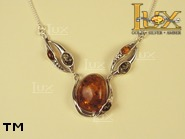 Jewellery SILVER sterling necklace.  Stone: amber. TAG: nature; name: N-651-1; weight: 12.5g.