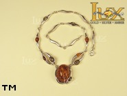 Jewellery SILVER sterling necklace.  Stone: amber. TAG: nature; name: N-651-2; weight: 23g.