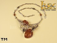 Jewellery SILVER sterling necklace.  Stone: amber. TAG: nature; name: N-660; weight: 36.6g.