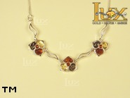 Jewellery SILVER sterling necklace.  Stone: amber. TAG: nature; name: N-681-1; weight: 10.1g.