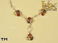 Jewellery SILVER sterling necklace.  Stone: amber. TAG: nature; name: N-681-2; weight: 13.2g.