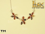 Jewellery SILVER sterling necklace.  Stone: amber. TAG: nature; name: N-682; weight: 9.2g.
