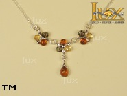 Jewellery SILVER sterling necklace.  Stone: amber. TAG: nature; name: N-690-1; weight: 7.3g.