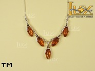 Jewellery SILVER sterling necklace.  Stone: amber. TAG: ; name: N-726; weight: 8.8g.