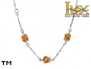 Jewellery SILVER sterling necklace.  Stone: amber. TAG: ; name: N-763; weight: 5.3g.