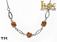 Jewellery SILVER sterling necklace.  Stone: amber. TAG: ; name: N-778; weight: 5.5g.