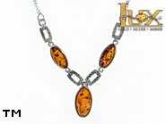Jewellery SILVER sterling necklace.  Stone: amber. TAG: ; name: N-790; weight: 8.3g.