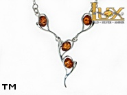 Jewellery SILVER sterling necklace.  Stone: amber. TAG: hearts; name: N-795-2; weight: 6.6g.