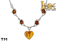 Jewellery SILVER sterling necklace.  Stone: amber. TAG: hearts; name: N-795; weight: 7.6g.