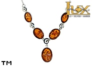 Jewellery SILVER sterling necklace.  Stone: amber. TAG: ; name: N-827; weight: 12g.
