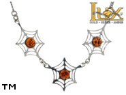 Jewellery SILVER sterling necklace.  Stone: amber. TAG: nature, animals; name: N-865; weight: 5.5g.