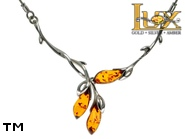 Jewellery SILVER sterling necklace.  Stone: amber. TAG: nature, modern; name: N-A77; weight: 9.7g.
