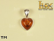 Jewellery SILVER sterling pendant.  Stone: amber. TAG: hearts; name: P-064-2; weight: 2.2g.