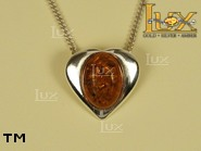 Jewellery SILVER sterling pendant.  Stone: amber. TAG: hearts; name: P-078; weight: 2.5g.