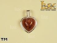 Jewellery SILVER sterling pendant.  Stone: amber. TAG: hearts; name: P-192; weight: 2.1g.