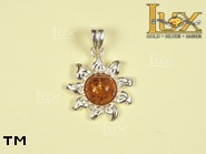 Jewellery SILVER sterling pendant.  Stone: amber. Sun. TAG: nature, signs; name: P-239; weight: 1.6g.