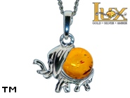 Jewellery SILVER sterling pendant.  Stone: amber. Elephant - a symbol of good luck. TAG: animals, signs; name: P-344; weight: 2.4g.