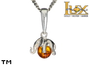 Jewellery SILVER sterling pendant.  Stone: amber. Elephant. TAG: animals, signs; name: P-354; weight: 1.3g.