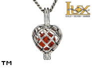 Jewellery SILVER sterling pendant.  Stone: amber. TAG: hearts, clasic; name: P-356; weight: 1.9g.