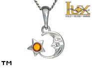 Jewellery SILVER sterling pendant.  Stone: amber. TAG: stars, signs; name: P-459; weight: 1g.