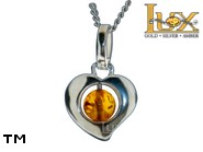 Jewellery SILVER sterling pendant.  Stone: amber. TAG: hearts; name: P-497; weight: 1.5g.