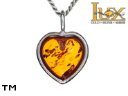 Jewellery SILVER sterling pendant.  Stone: amber. TAG: hearts; name: P-502-3; weight: 1.2g.