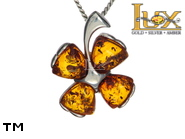 Jewellery SILVER sterling pendant.  Stone: amber. TAG: nature, signs; name: P-613; weight: 3g.