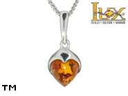 Jewellery SILVER sterling pendant.  Stone: amber. TAG: hearts, clasic; name: P-743; weight: 2.1g.