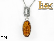 Jewellery SILVER sterling pendant.  Stone: amber. TAG: ; name: P-790; weight: 2.4g.