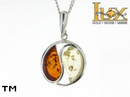 Jewellery SILVER sterling pendant.  Stone: amber. Yin-yang symbol. TAG: signs; name: P-819; weight: 3.2g.