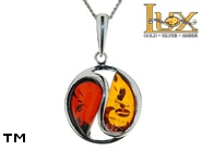 Jewellery SILVER sterling pendant.  Stone: amber. Yin-yang symbol. TAG: signs; name: P-819MIX; weight: 3.2g.