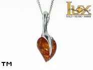 Jewellery SILVER sterling pendant.  Stone: amber. TAG: hearts; name: P-822; weight: 4.7g.