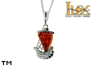 Jewellery SILVER sterling pendant.  Stone: amber. Fishing boat. Ship, boat, sailboat. TAG: signs; name: P-828; weight: 2.8g.