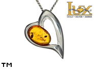Jewellery SILVER sterling pendant.  Stone: amber. TAG: hearts; name: P-858; weight: 3g.