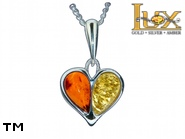 Jewellery SILVER sterling pendant.  Stone: amber. TAG: hearts; name: P-898; weight: 1.7g.