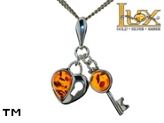 Jewellery SILVER sterling pendant.  Stone: amber. Key and heart symbol. TAG: hearts, signs; name: P-899; weight: 2g.