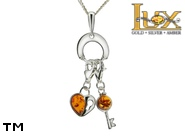 Jewellery SILVER sterling pendant.  Stone: amber. TAG: hearts, signs; name: P-911-1; weight: 4.3g.