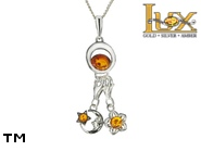 Jewellery SILVER sterling pendant.  Stone: amber. TAG: nature, stars, signs; name: P-912-1; weight: 4.9g.