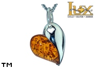 Jewellery SILVER sterling pendant.  Stone: amber. Heart. TAG: hearts, signs; name: P-916; weight: 2.8g.