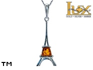 Jewellery SILVER sterling pendant.  Stone: amber. Eiffel Tower. TAG: modern, signs; name: P-941L; weight: 2.3g.