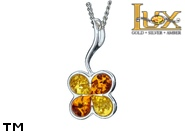 Jewellery SILVER sterling pendant.  Stone: amber. Four Leaf Clover, good luck symbol. TAG: nature, signs; name: P-959; weight: 1.7g.