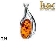 Jewellery SILVER sterling pendant.  Stone: amber. TAG: hearts; name: P-985; weight: 1.8g.