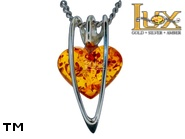 Jewellery SILVER sterling pendant.  Stone: amber. TAG: hearts; name: P-994-2; weight: 1.4g.