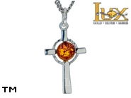 Jewellery SILVER sterling pendant.  Stone: amber. TAG: cross, signs; name: P-A04; weight: 2.1g.