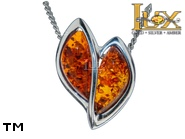 Jewellery SILVER sterling pendant.  Stone: amber. Heart TAG: hearts, modern; name: P-A24; weight: 2.4g.