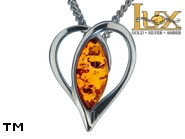 Jewellery SILVER sterling pendant.  Stone: amber. TAG: hearts, modern; name: P-A25; weight: 1.7g.