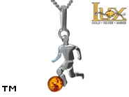 Jewellery SILVER sterling pendant.  Stone: amber. Football player. TAG: modern, signs; name: P-A84; weight: 1.5g.