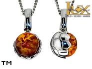 Jewellery SILVER sterling pendant.  Stone: amber. A football. TAG: modern, signs; name: P-A85; weight: 2.7g.