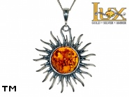 Jewellery SILVER sterling pendant.  Stone: amber. Symbol of the Sun. TAG: nature, stars, clasic, signs; name: P-B02; weight: 8.1g.