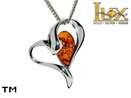 Jewellery SILVER sterling pendant.  Stone: amber. TAG: hearts, modern; name: P-B31; weight: 2.4g.